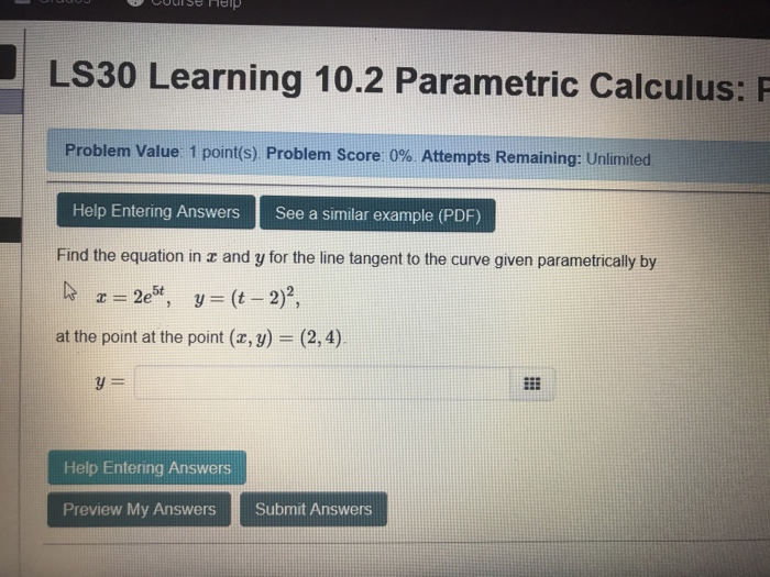 Solved: LS30 Learning 10 2 Parametric Calculus: F Problem