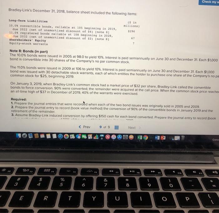 Solved: Check My W Bradley-Link's December 31, 2018, Balan