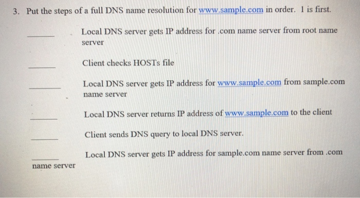 Solved: 3  Put The Steps Of A Full DNS Name Resolution For