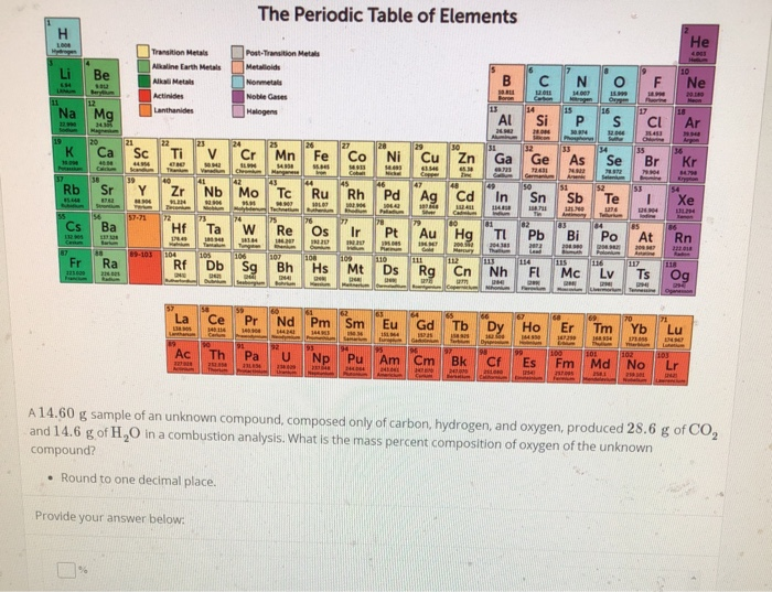 Solved The Periodic Table Of Elements He Transition Metal