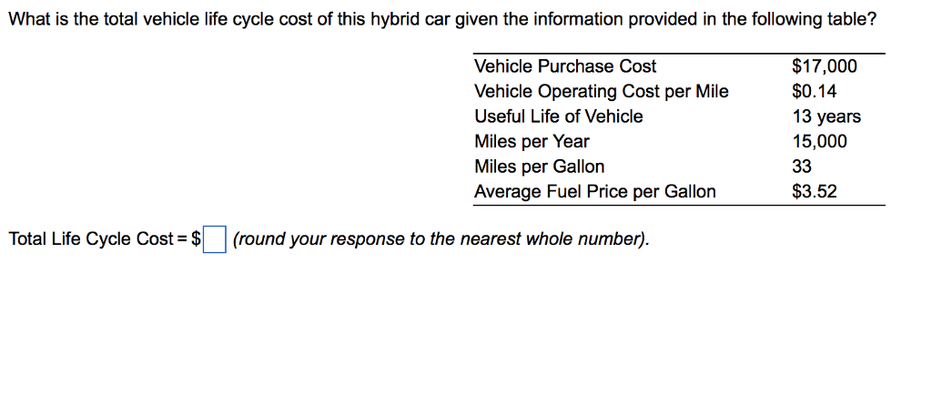 What Is The Total Vehicle Life Cycle Cost Of This Hybrid Car Given Information Provided