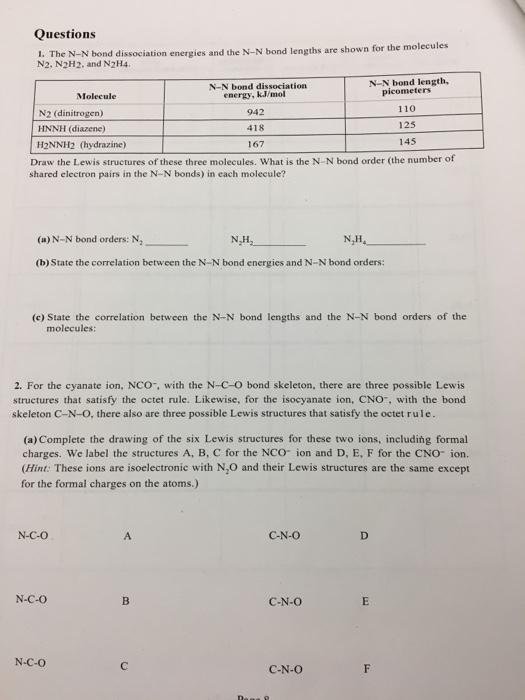 Solved The N N Bond Dissociation Energies And The N N Bon