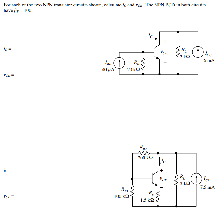 Cool Solved For Each Of The Two Npn Transistor Circuits Shown Wiring Database Mangnorabwedabyuccorg