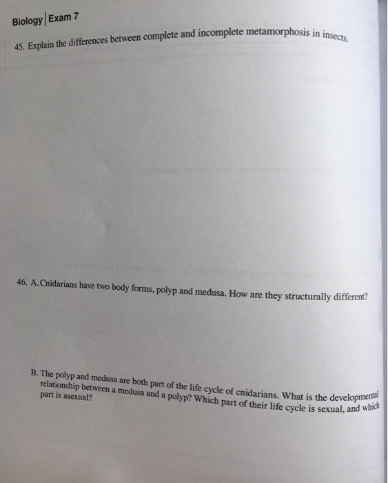 Solved: Biology Exam 7 Cts, 45  Explain The Differences Be