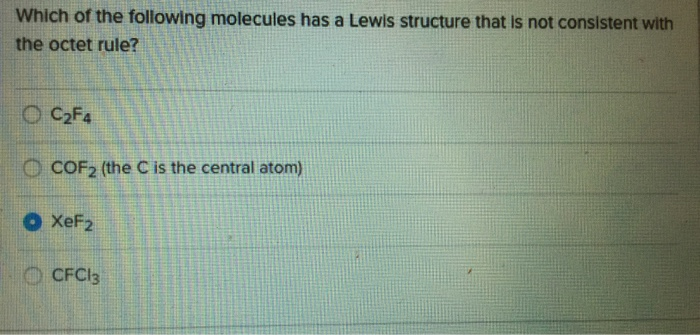 Solved Which Of The Following Molecules Has A Lewis Struc