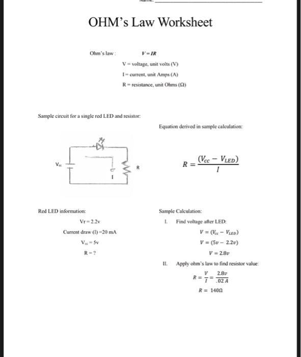 Solved: OHM's Law Worksheet Ohm's Law V-IR V- Voltage, Uni ...
