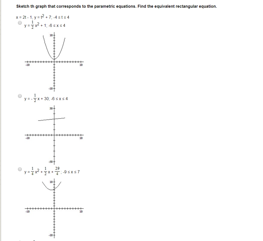 solved: sketch th graph that corresponds to the parametric