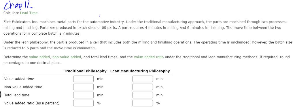 Ap IZ Calculate Lead Time Flint Fabricators Inc  M    | Chegg com
