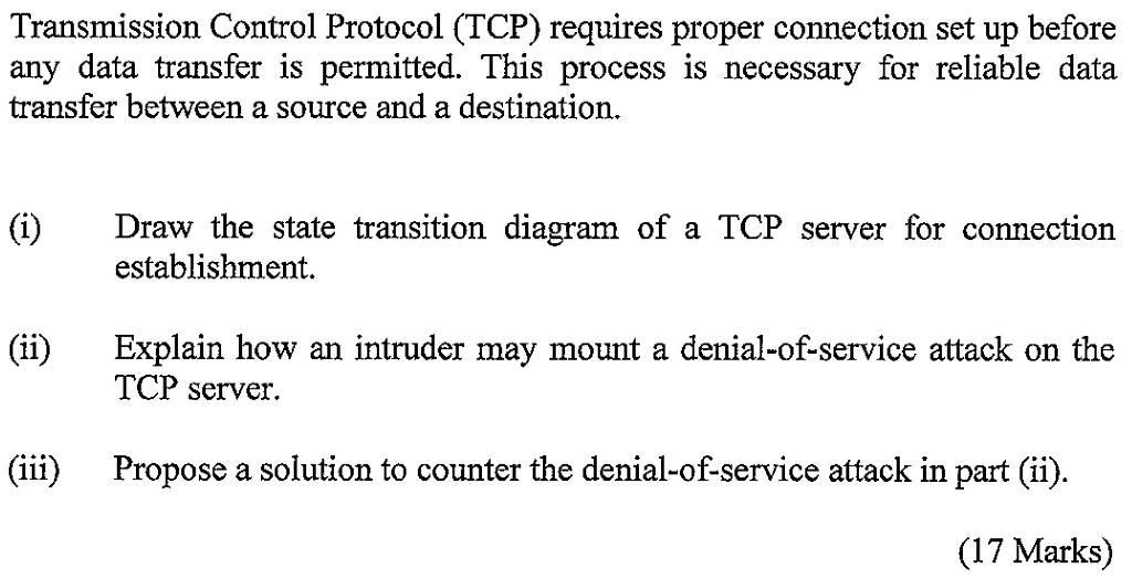 Transmission Control Protocol Tcp Requires Prope Chegg Com