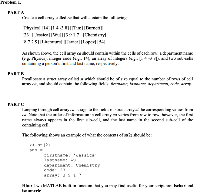 Solved: Problem 1 PART A Create A Cell Array Called Ca Tha