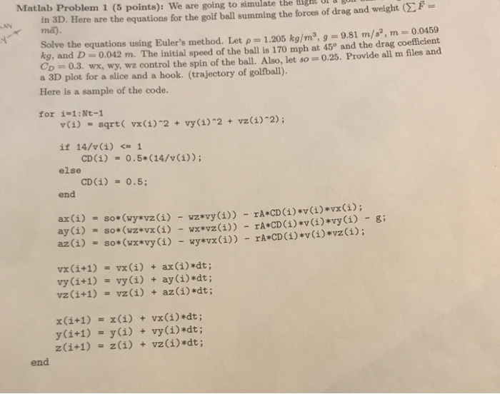 Matlab Problem 1 (5 Points): We Are Going To Simul...   Chegg.com