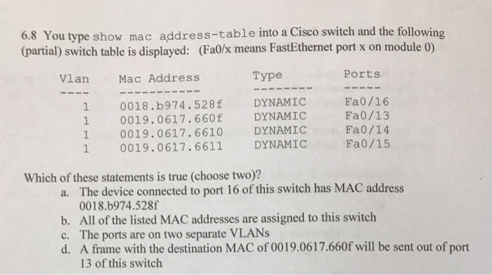 Solved: 6 8 You Type Show Mac Address-table Into A Cisco S