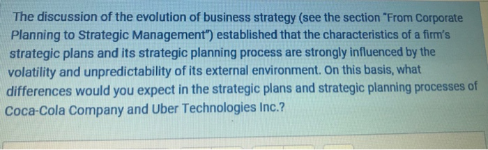 Solved: The Discussion Of The Evolution Of Business Strate
