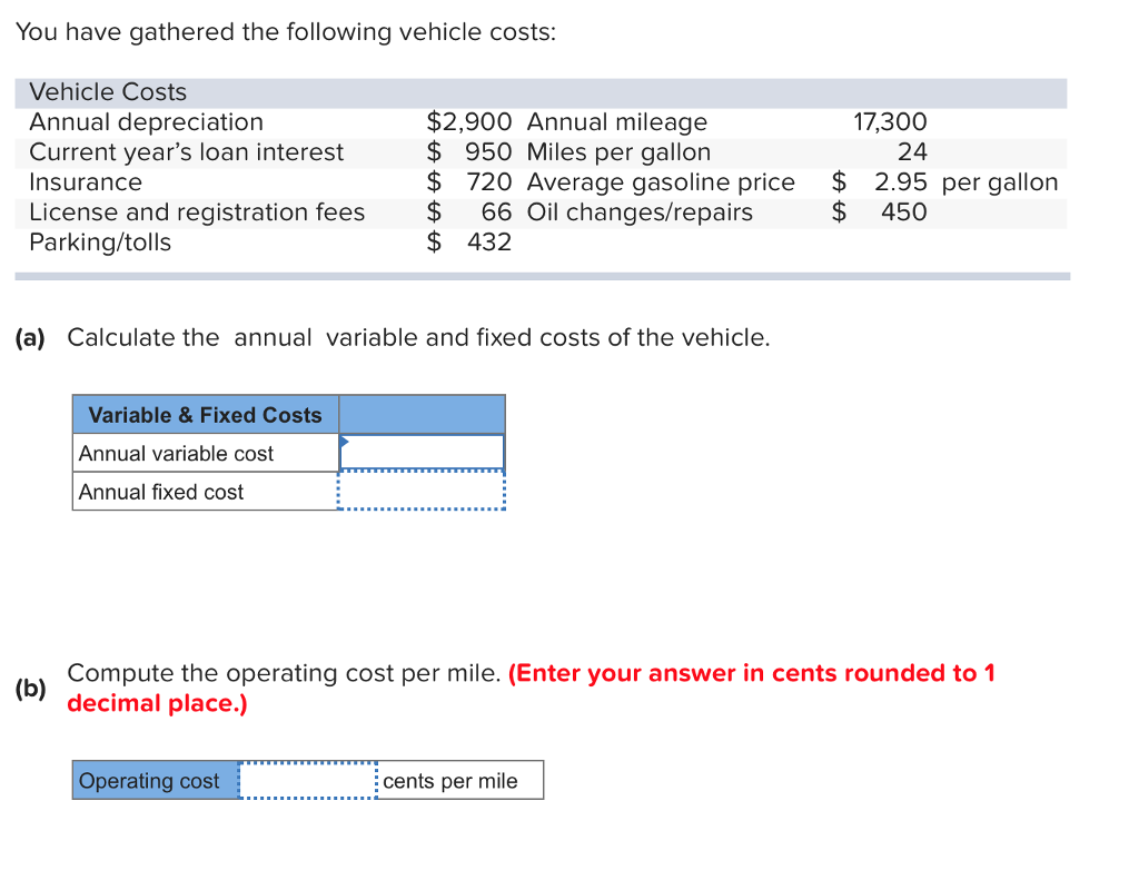 Question You Have Gathered The Following Vehicle Costs Annual Depreciation Cur Year S L