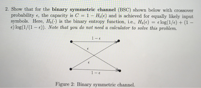 Solved: 2  Show That For The Binary Symmetric Channel (BSC