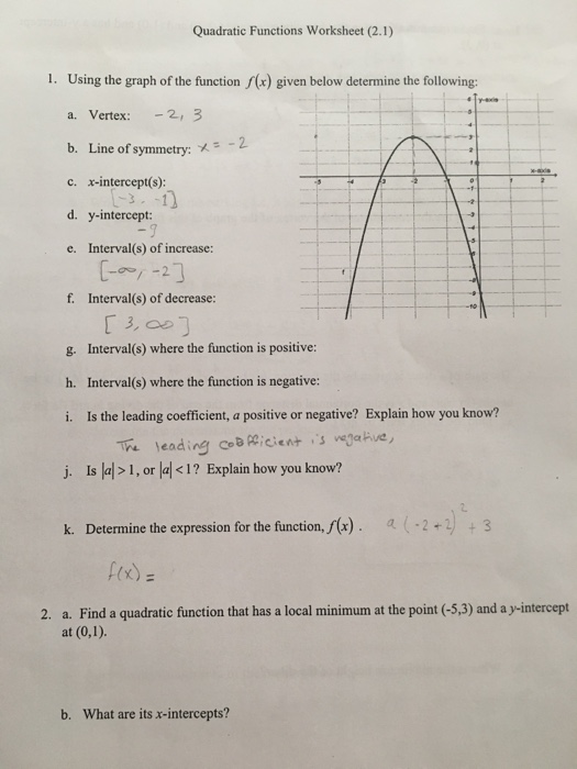 Solved: Quadratic Functions Worksheet (2.1) 1. Using The G ...
