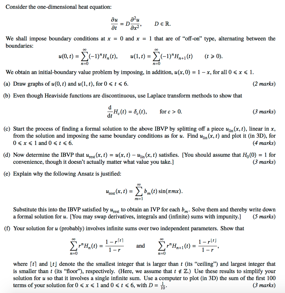 Solved: Consider The One-dimensional Heat Equation: ∂u = D