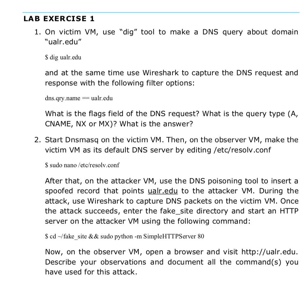 Task 1: DNS Cache Poisoning Attack Most Of The Web    | Chegg com