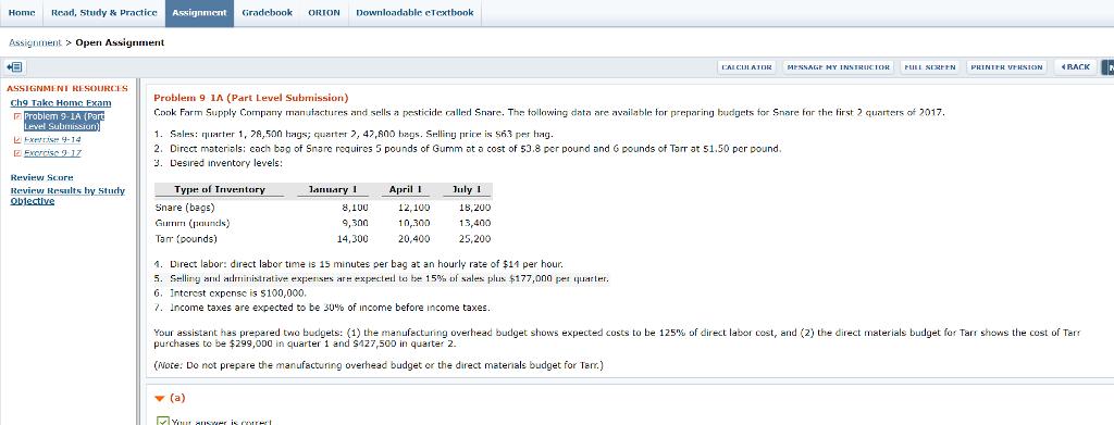 Home Read StudyPractice Gradebook ORION Downloadable ETextook Problem 9 1A Part Level Submission