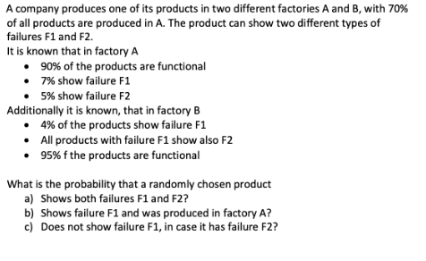 044c026548967 A company produces one of its products in two different factories A and B