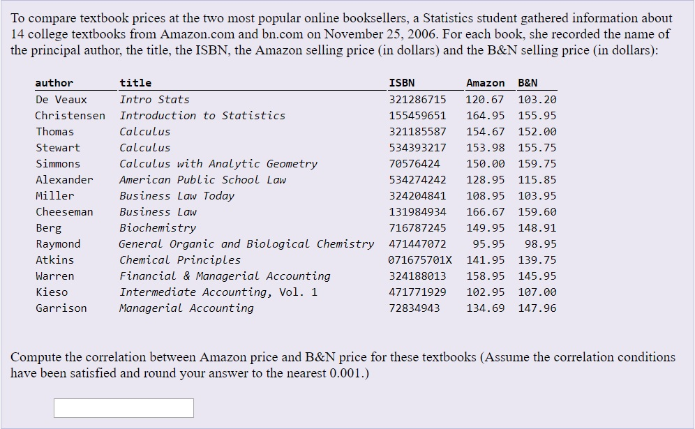 Solved: To Compare Textbook Prices At The Two Most Popular
