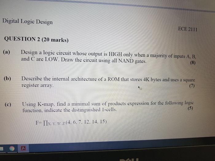 Solved Digital Logic Design Question 2 20 Marks A Des Chegg Com