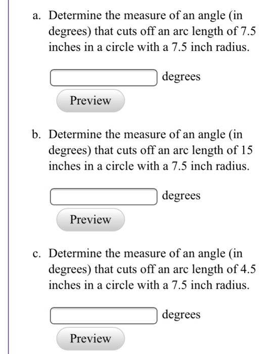 Determine The Measure Of An Angle In Degrees That Cuts Off An