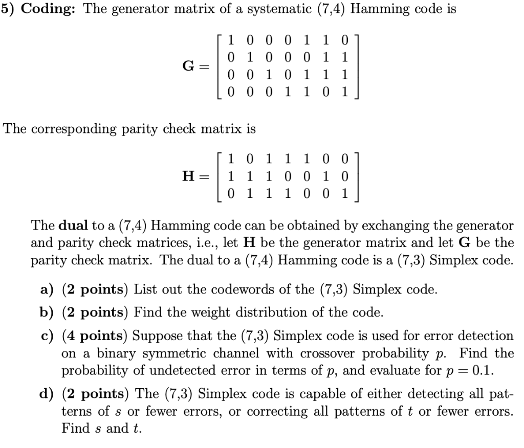 5) Coding: The Generator Matrix Of A Systematic (7
