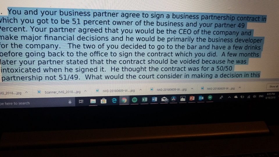 Question You And Your Business Partner Agree To Sign A Partnership Contract In Hich Got Be