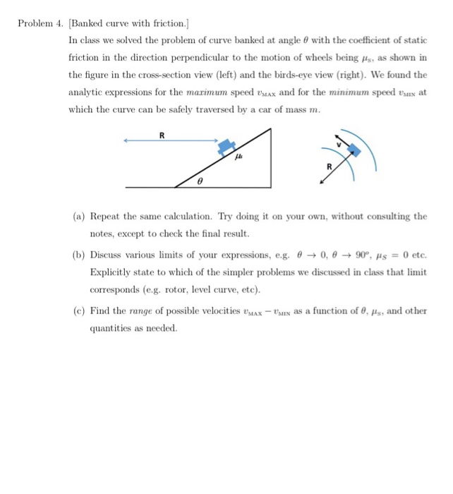 Solved: Problem 4  Banked Curve With Friction ] In Class W