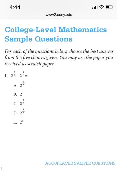 Solved: 4:44 ·1令 Www2 cuny edu College-Level Mathematics