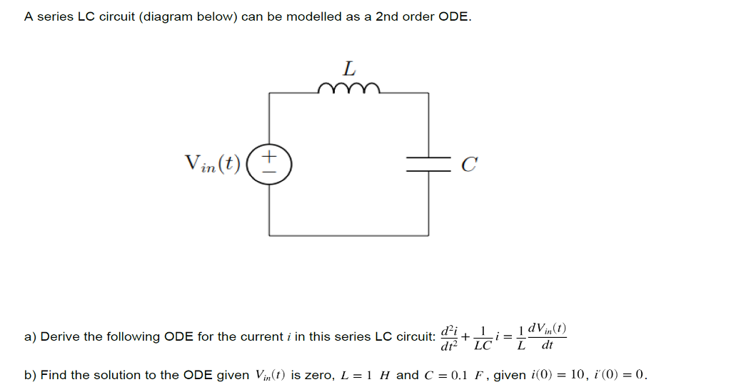 a series lc circuit (diagram below) can be modelled as a 2nd order ode