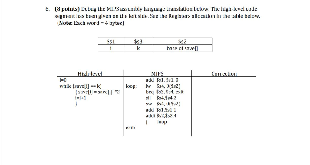 Solved: 6  (8 Points) Debug The MIPS Assembly Language Tra
