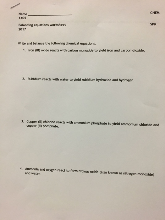 Solved: Write And Balance The Following Chemical Equations
