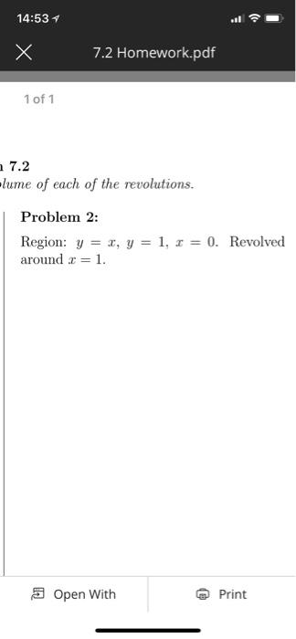 Solved: 14:531 7 2 Homework pdf 1 Of 1 7 2 Lume Of Each Of