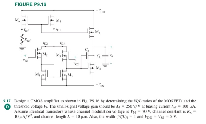 FIGURE P9.16 +1 ref Di M2 Rref D2 D3 Ms M4 Ms sS 9.17 Design a CMOS amplifier as shown in Fig. P9.16 by determining the W/L ratios of the MOSFETs and the O threshold voltage V The small-signal voltage gain should be Ad 250V Vat biasing current/ f 100 μ. Assume identical transistors whose channel modulation voltage is VM = 70 V, channel constant is K 10 μA/V2, and channel length L = 10 μm. Also, the width (WL)6-1 and VDD = Vss 5 V.