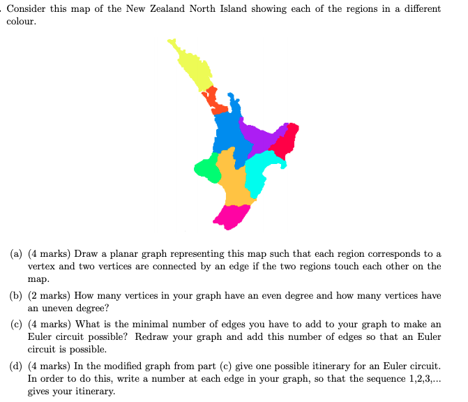 Map New Zealand Regions.Solved Consider This Map Of The New Zealand North Island
