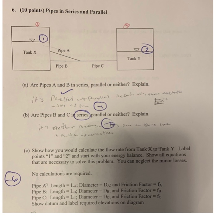 (10 points) pipes in series and parallel pipe a tank x tank