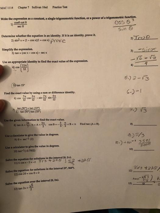 Solved: MAC 1114 Chapter 7 Sullivan 10ed Practice Test Wri