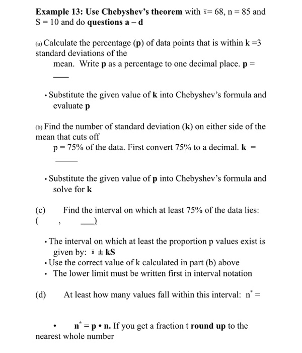 Solved: Example 13: Use Chebyshev's Theorem With S 10 And ...