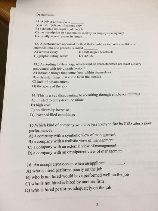 a job specification is a a list of job