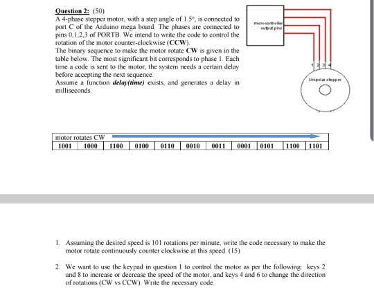 Solved: Question 2: (50) A 4-phase Stepper Motor, With A S