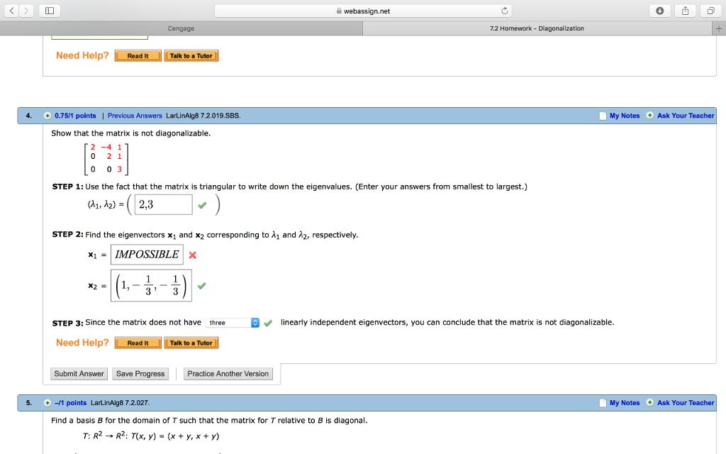 Solved: Webassign net Cengage 7 2 Homework- Diagonalizatio