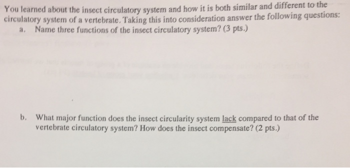 Solved: You Learmed About The Insect Circulatory System Ci