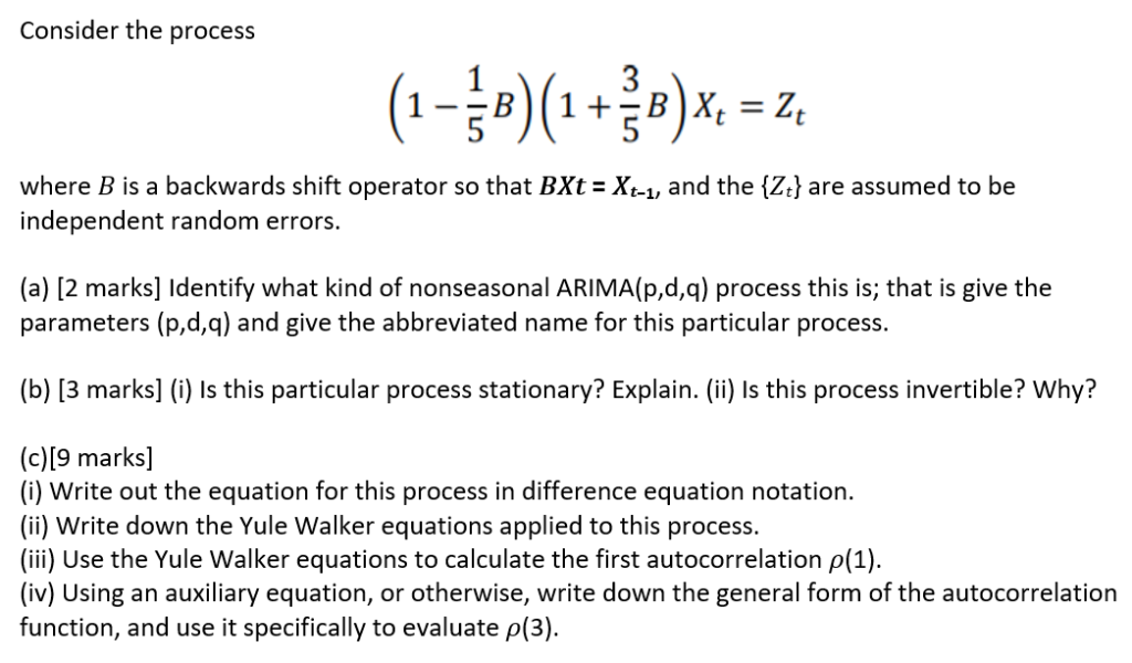 Consider The Process 5 Where B Is A Backwards Shif    | Chegg com
