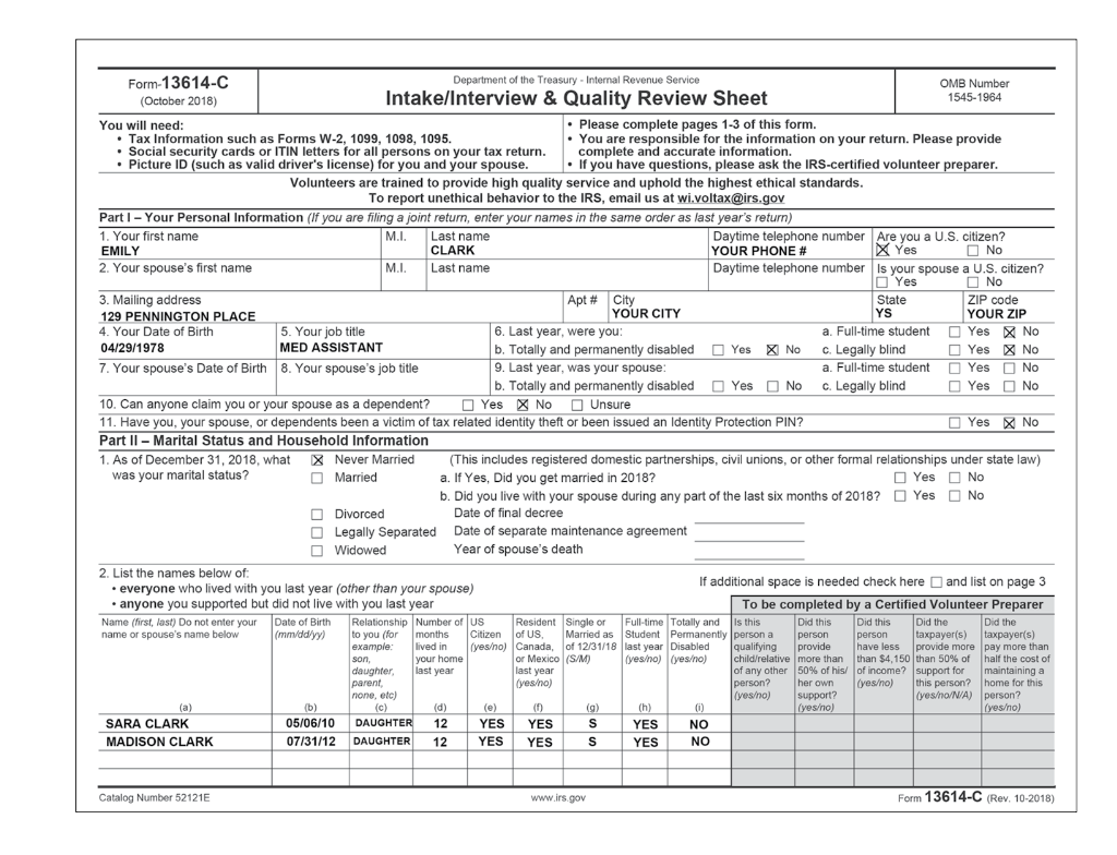 form 1040 health care individual responsibility worksheet  Solved: Basic Scenario 11: Emily Clark Using The Tax Softwa ...