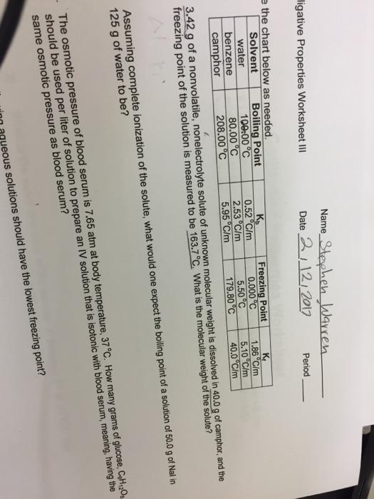 Solved Properties Worksheet Iii The Chart Below As Needed