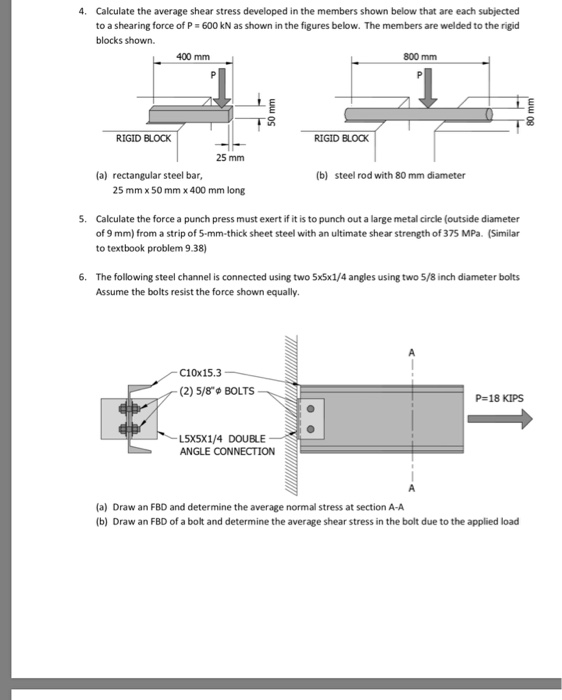 Solved: 4  Calculate The Average Shear Stress Developed In
