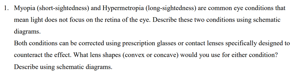 Solved Myopia Short Sightedness And Hypermetropia Long