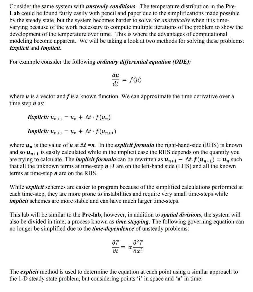 1-D Heat Conduction Finite Difference Method Using    | Chegg com